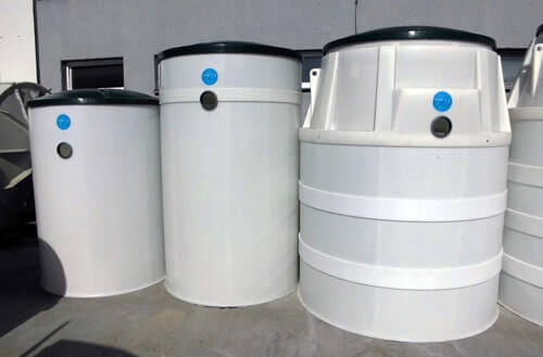 AT6, AT8 and AT10 wastewater treatment plants from Aquatec VFL company. Size and shape comparison: