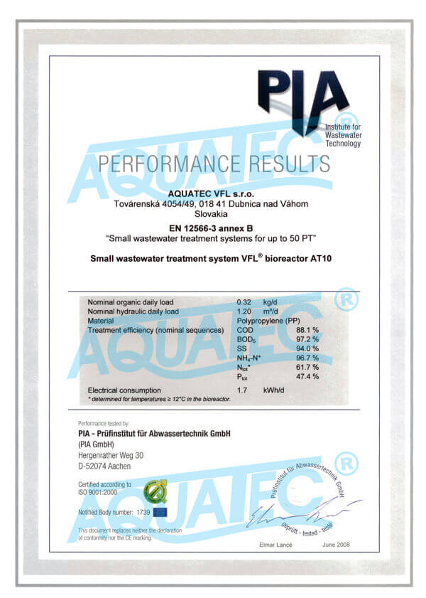 Aquatec VFL wastewater treatment plans tested by PIA Aachen